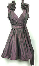 BCBG Metallic Purple Collar Ruffle Empire Waist Halter Cocktail Party Dress Sz 4