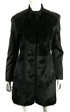 PRADA SPORT Black Goat Fur & Nylon Leather Shoulder Zip Front Coat 44
