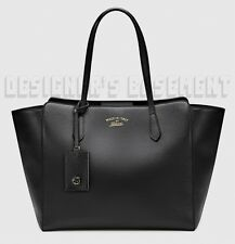 GUCCI black leather Medium SWING TOTE Hanging GG ID TAG bag NWT Authentic $1350!
