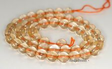 8MM  CITRINE QUARTZ GEMSTONE ROUND LOOSE BEADS 7.5""
