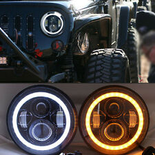"2x 7"" Inch Headlights LED High/low Headlamp angel eye For Jeep Wrangler JK CJ TJ"