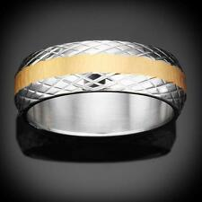 New Struttura Men's Diamond Etched Two-Tone Stainless Steel Ring Size-10