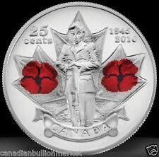 Canada 1945 2010 25 cent World War 2 Remembrance Day Poppy Colored Coin