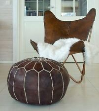 NEW Moroccan Leather Ottoman Pouffe Pouf Footstool In Dark Tan