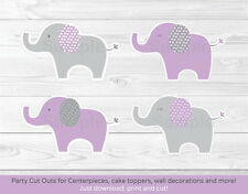 Lavender Polka Dot Elephant Party Cutouts Decorations Printable