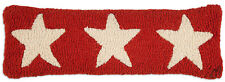 """Chandler 4 Corners Hand Hooked Wool Red Three Star Pillow 8"""" x 24"""""""