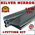 SILVER MIRROR 15% CAR WINDOW TINT 6M x 75CM FILM TINTING NEW