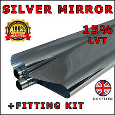 "2 x ROLL 3M x75CM (9'10"" x 2'6) SILVER MIRROR 15% CAR WINDOW TINT FILM TINTING"