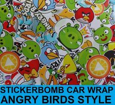 Sticker Bomb Gloss Car Wrap 30 x 20cm - Bubble Free Wrapping Vinyl - Angry Birds
