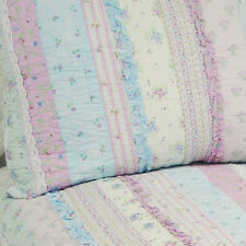 LAVENDER BLUE & WHITE LACE QUEEN BED QUILT SET SHABBY RUFFLES ROSES COTTAGE CHIC