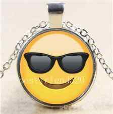 Smiling Face With Sunglasses Emoji Cabochon Glass Tibet Silver Chain Necklace