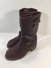 Chippewa  Brown Leather Steel Toe Engineer Motorcycle Boots 6.5 E Style 91068