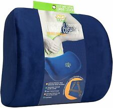 Smart Lumbar Support Cushion for Lower Back Pain Relief - 3-Strap System (Blue)