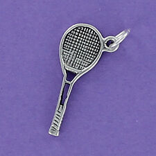 Tennis Racket Charm Sterling Silver 925 for Bracelet Game Sports Court Wimbledon
