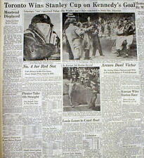 1947 headline newspaper TORONTO MAPLE LEAFS win STANLEY CUP Ice Hockey Champions