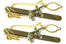 2 tie clips LOT clasps pins silver plated Centaur c43centaur2