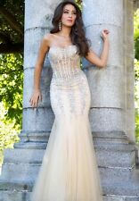New Jovani Mermaid prom dress Nude and silver size 2