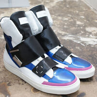 NEW Raf Simons White & Blue Leather High Top Trainers RRP: £535 BNIB - Size: 41