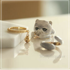 Fashion Cute CAT MEOW Enamel Gold plated Open Finger Ring Set Ring