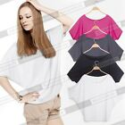 New Casual Blouses Loose Batwing Short Sleeve Women's T-Shirts Tops E157 Sz M, L