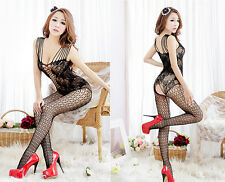 Sexy Crotchless FishNet Body stocking Bodysuit Lingerie Nightwear Black QU90
