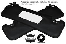 BLACK STITCHING 2X SUN VISORS LEATHER COVERS FITS FIAT BARCHETTA 1995-2005