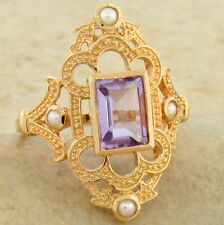 GENUINE AMETHYST PEARL VICTORIAN ROSE GOLD OVER 925 SILVER RING SIZE 10,    #830