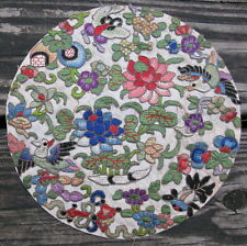 Antique Chinese silk embroidery roundel brick stitch applique robe 8in #11670