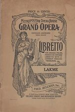 New York Metropolitan Lakme Opera  Libretto 1920's era Knabe Piano Ad on Back