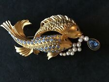 Elizabeth Taylor for Avon Sea Shimmer Koi Fish Faux Pearls,Opals,Topaz Pin RARE