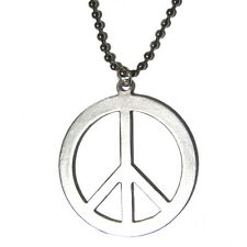 "classic Peace Sign - Silver Plated Pendant Charm 24"" Necklace WORLD PEACE"