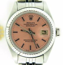 Rolex Datejust Ladies Stainless Steel/18k White Gold Watch Salmon Dial 6917