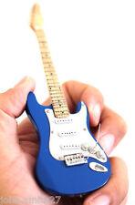"""Wooden Intricate Blue Miniature Guitar White Super Mini 6"""" Fridge Magnet &Stand"""