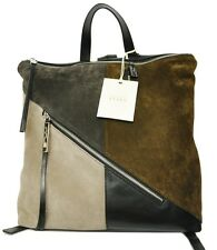 INNUE Italy Suede/Leather Colorblock Backpack Bag Handbag Black/London Nwt