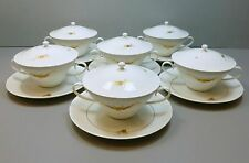 6 Rosenthal China Germany Romance II Medley Cream Soup Bowls with Lids & Saucers
