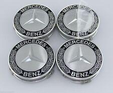 MERCEDES-BENZ (4)pc 75mm MB BLACK CENTER WHEEL HUB CAP CAPS EMBLEM BADGE FIT