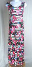 Sz 22/24 Avenue Maxi Full-Length Dress Sleeveless Floral Abstract Red Black NWT