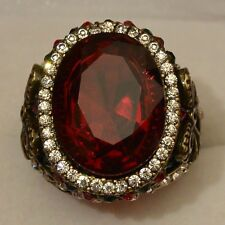 Grosse Bague T60 Ovale 25mm Cuivre Marquise Rubis Cz Style Ancien Dolly-Bijoux