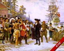 WILLIAM PENN'S ARRIVAL LANDING AMERICA OIL PAINTING ART REAL CANVAS GICLEE PRINT