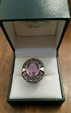 15 Carat oval cut Estate Sterling Silver 925 Amethyst & Marcasite Ring Size 7