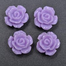 20pcs Purple Gorgeous Rose Flower Resin Loose Spacer Beads 12MM