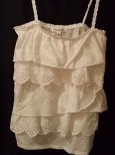 NEW!Aeropostale Women's White Ruffle Tiered Eyelet Lace Tank Top Sz Small
