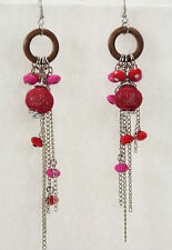 "Colorful mixed media dangle pierced earrings mesh wood chain red pink 5"" long"