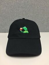Kermit None of my Business StrapBack Hat Frog Sipping Tea Emoji meme Cap Fashion