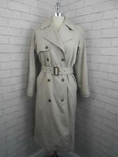 Vintage 1980s Ladies Long Double Breasted Classic Beige Stone Trench Coat Mac 8