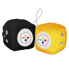 """Pittsburgh Steelers Fuzzy Dice NFL High Quality PLUSH 3"""" Car Auto Truck Football"""