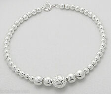 "7.5"" Solid Sterling Silver 8mm Gorgeous Beads Bracelet"