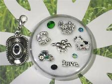 Country Girl Floating Charms*GReeN ORIGAMI Stone*Saddle*COW*Horse*Cowboy*Tractor
