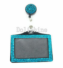 2 in 1 Multi Colors Rhinestone Retractable Reel with Horizontal ID Badge Holder