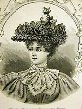 Victorian Ladies Fashion Bonnets HAT w TULLE and ROSES 1896 Antique Print Matted